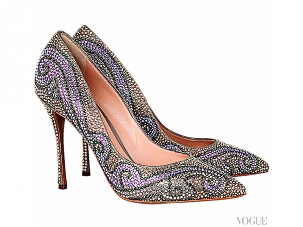 Кожаные туфли, декорированные стразами, Nicholas Kirkwood
