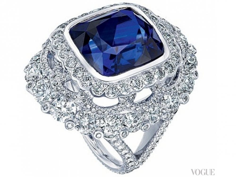 Кольцо Devotion, белое золото, бриллианты, сапфир, Faberg?