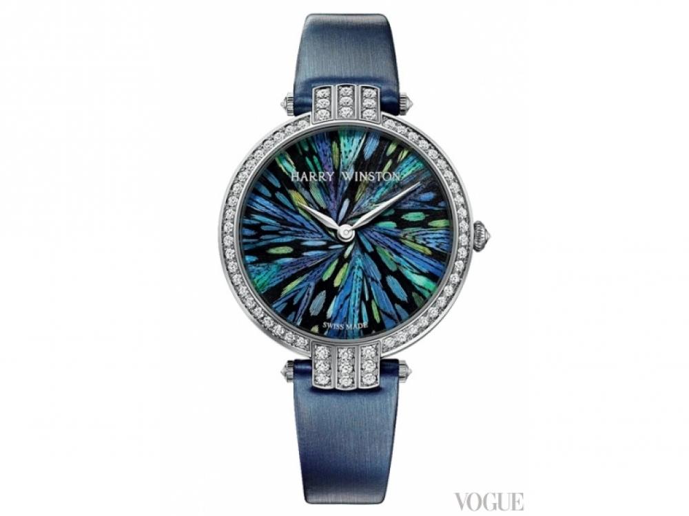 Часы, циферблат из белого золота, бриллианты, маркетри из перьев павлина и цесарки, Harry Winston