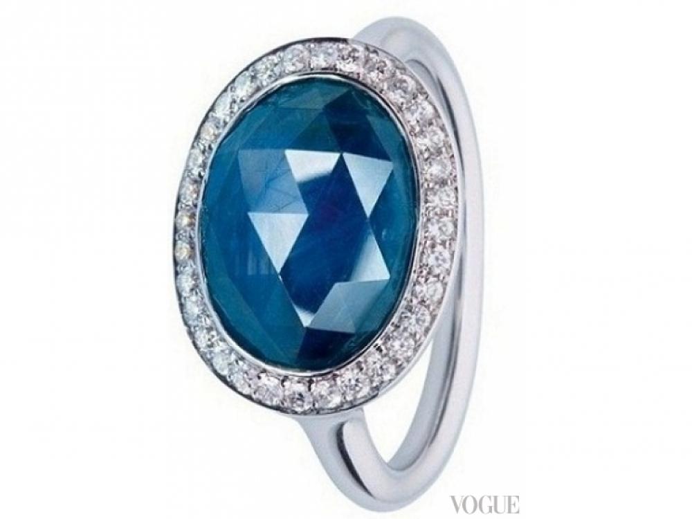 Кольцо, белое золото, сапфир, бриллианты, Zarina
