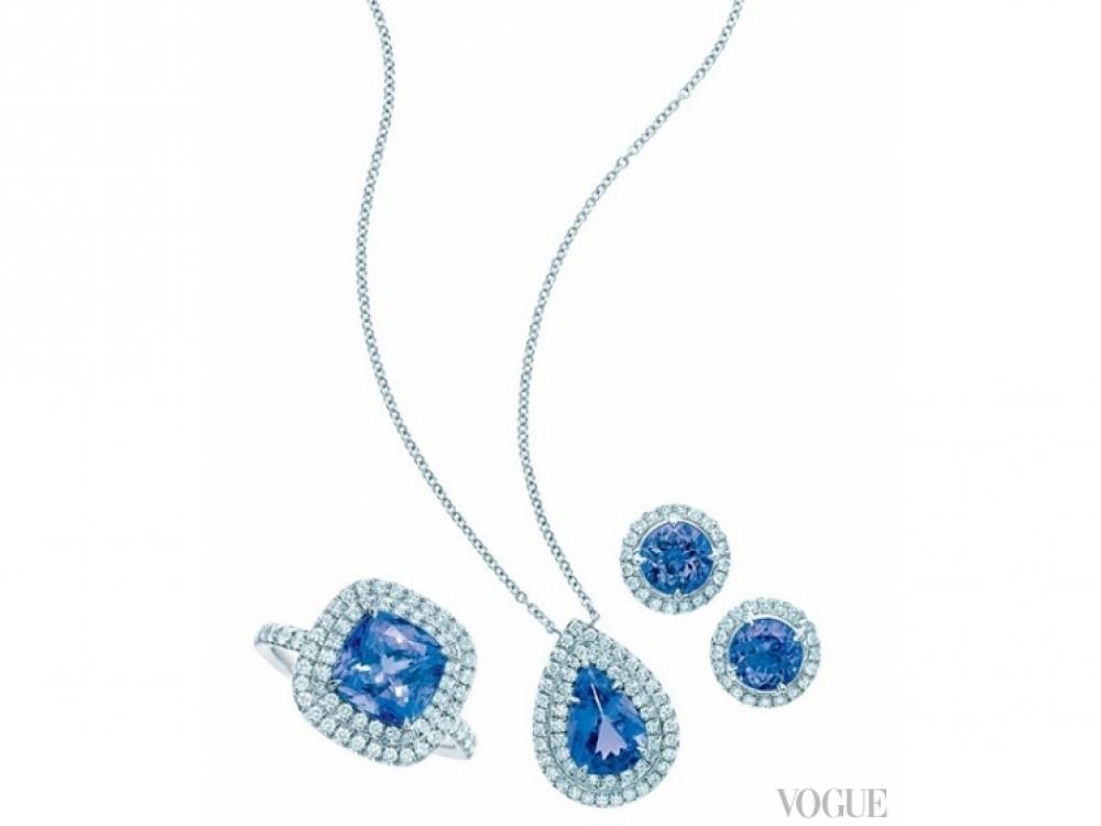 Подвеска, кольцо и серьги Soleste, платина, танзаниты, бриллианты, Tiffany & Co.