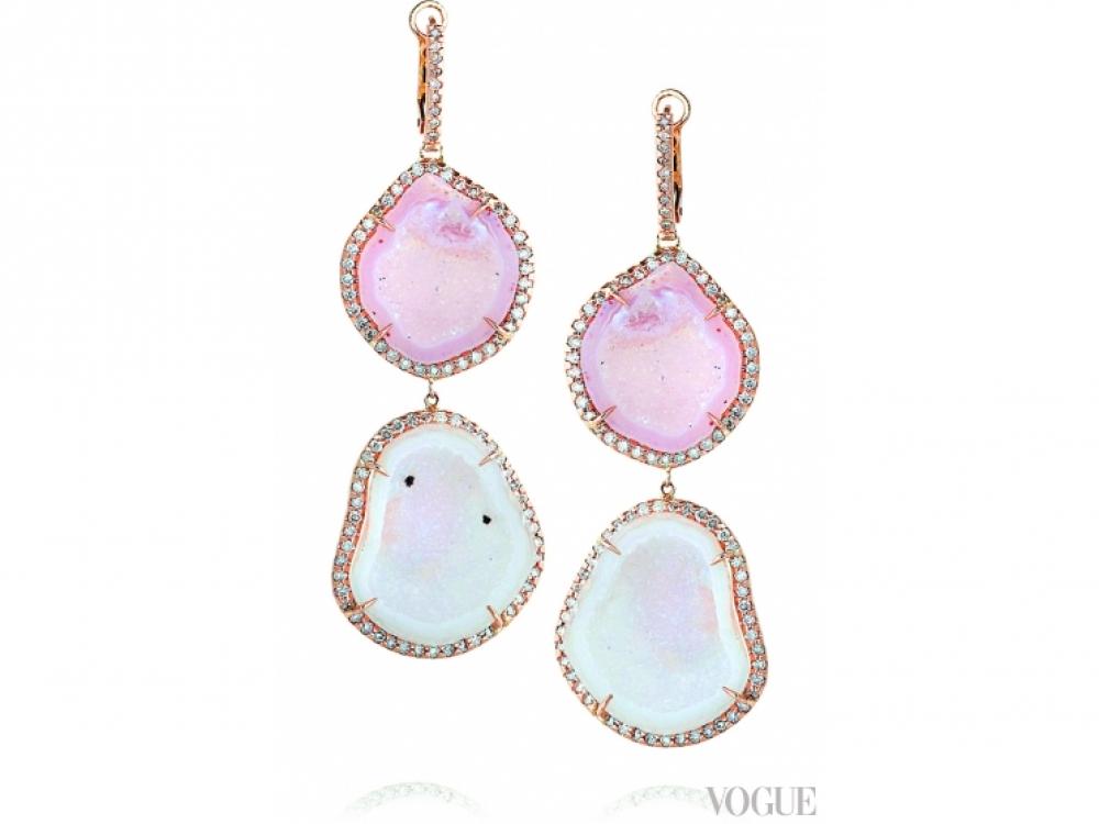 Серьги, розовое золото, агат, кварц, бриллианты, Kimberly McDonald