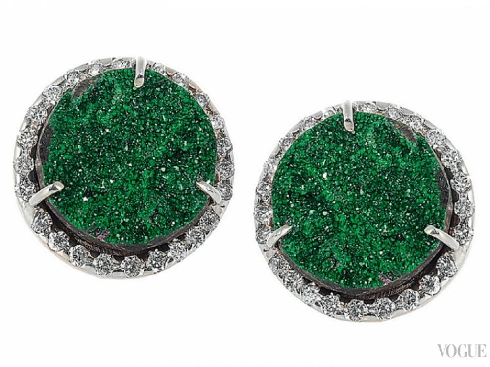 Серьги, белое золото, бриллианты, гранаты, Kimberly McDonald