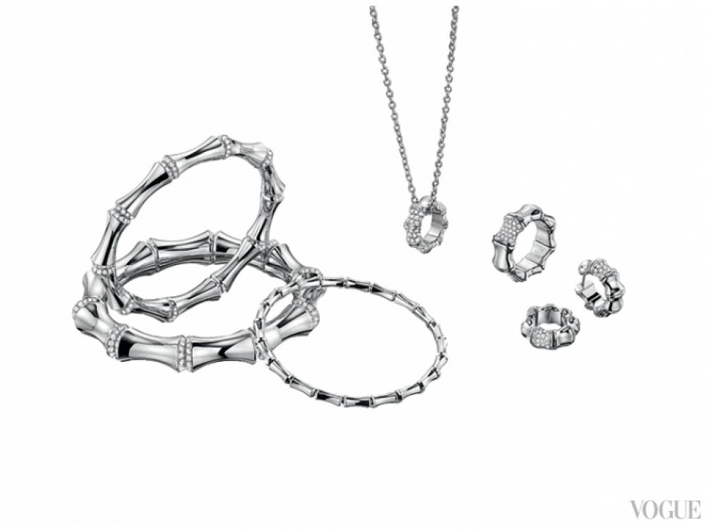 Украшения Bamboo, белое золото, бриллианты, Gucci Fine Jewelry