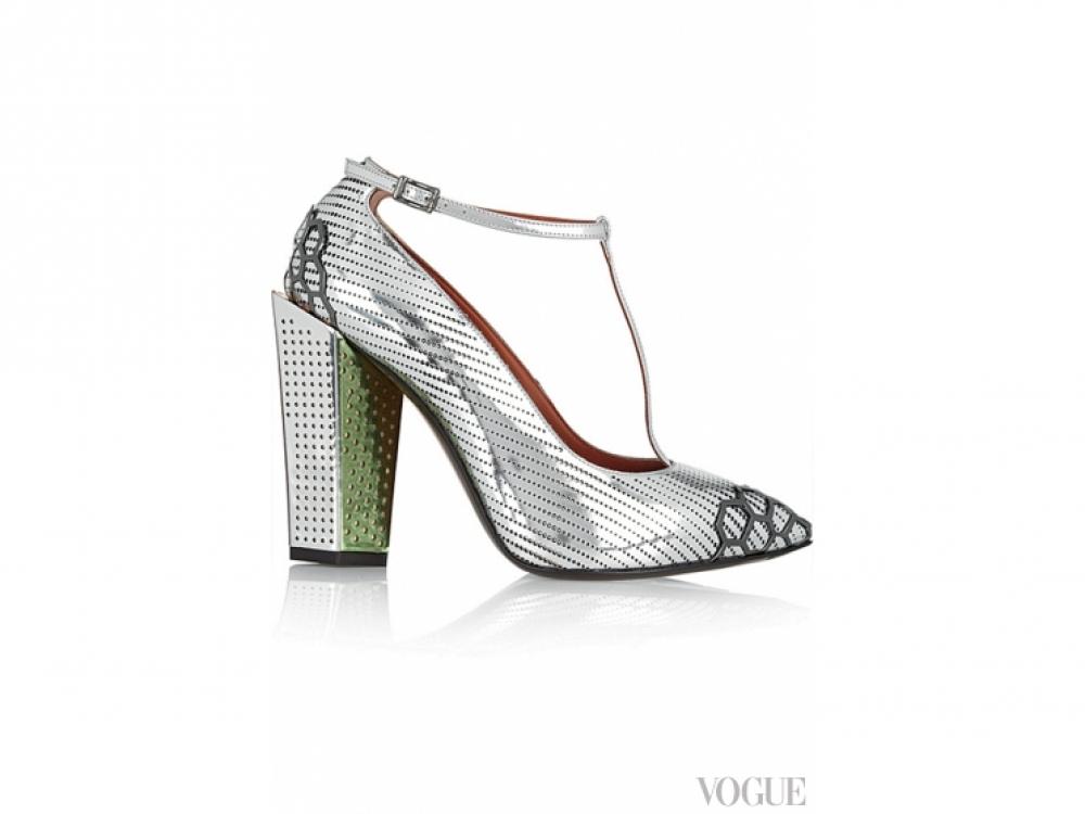 Туфли из перфорированной металлизированной кожи, декорированные металлом, Fendi