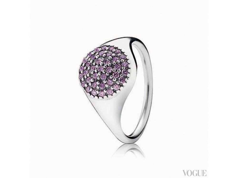 Кольцо, серебро, аметист, Pandora