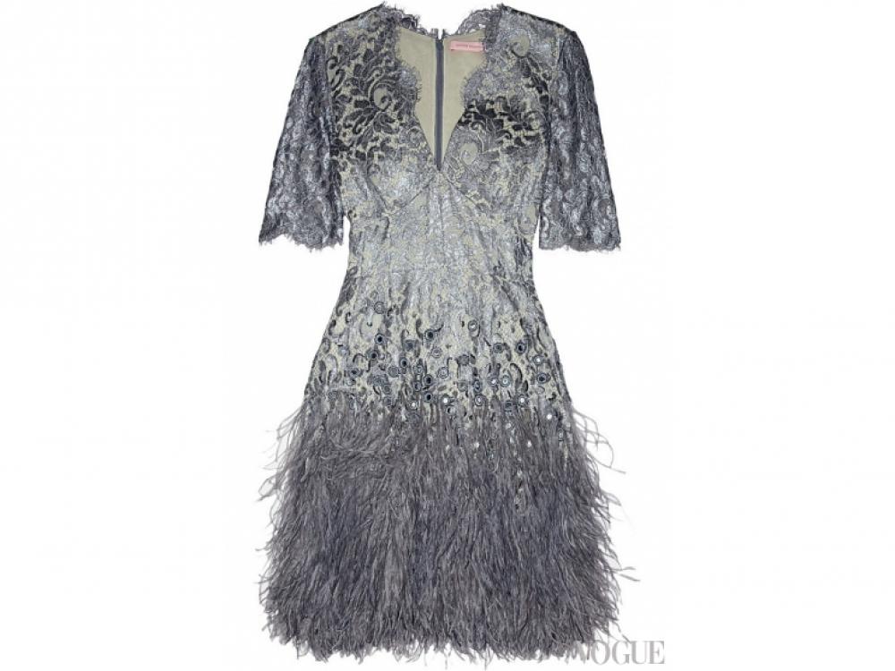 Платье из вискозы, расшитое кружевом, пайетками и перьями, Matthew Williamson