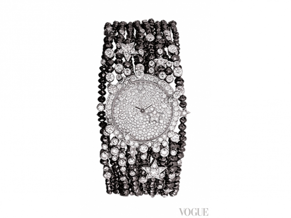Часы, белое золото, белые и черные бриллианты, Chanel