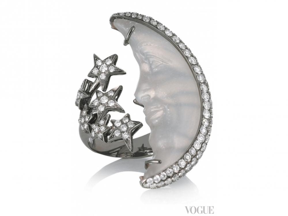 Кольцо, черненое золото, лунный камень, бриллианты, Lydia Courteille