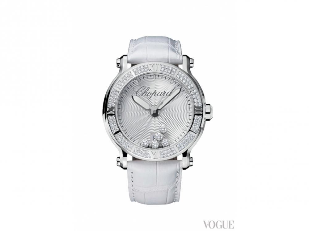 Часы Happy Sport XL, нержавеющая сталь, бриллианты, ремешок из крокодиловой кожи, Chopard