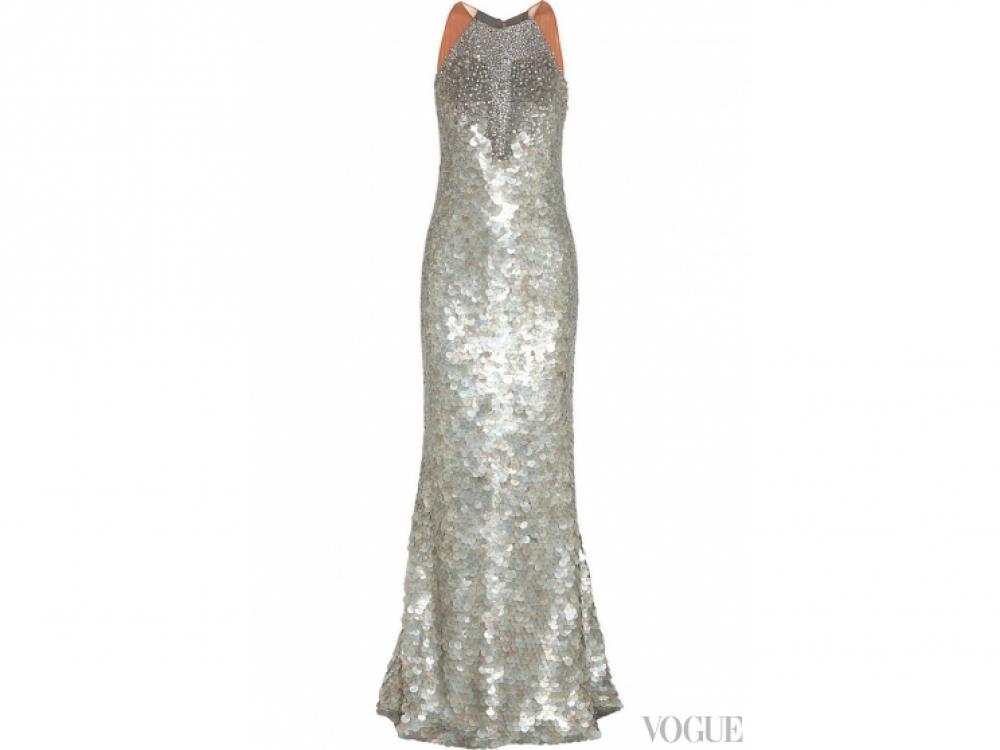 Шелковое платье, расшитое пайетками и хрусталем, Kaufmanfranco