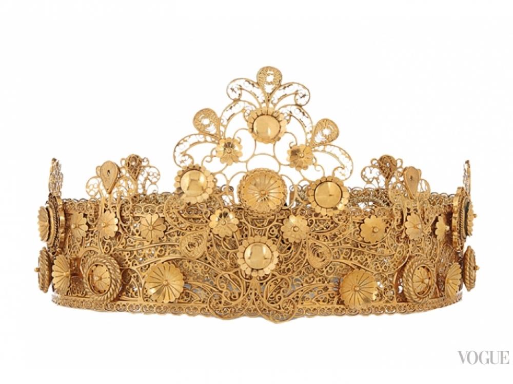 Корона, позолоченная латунь, бархатные завязки, Dolce & Gabbana