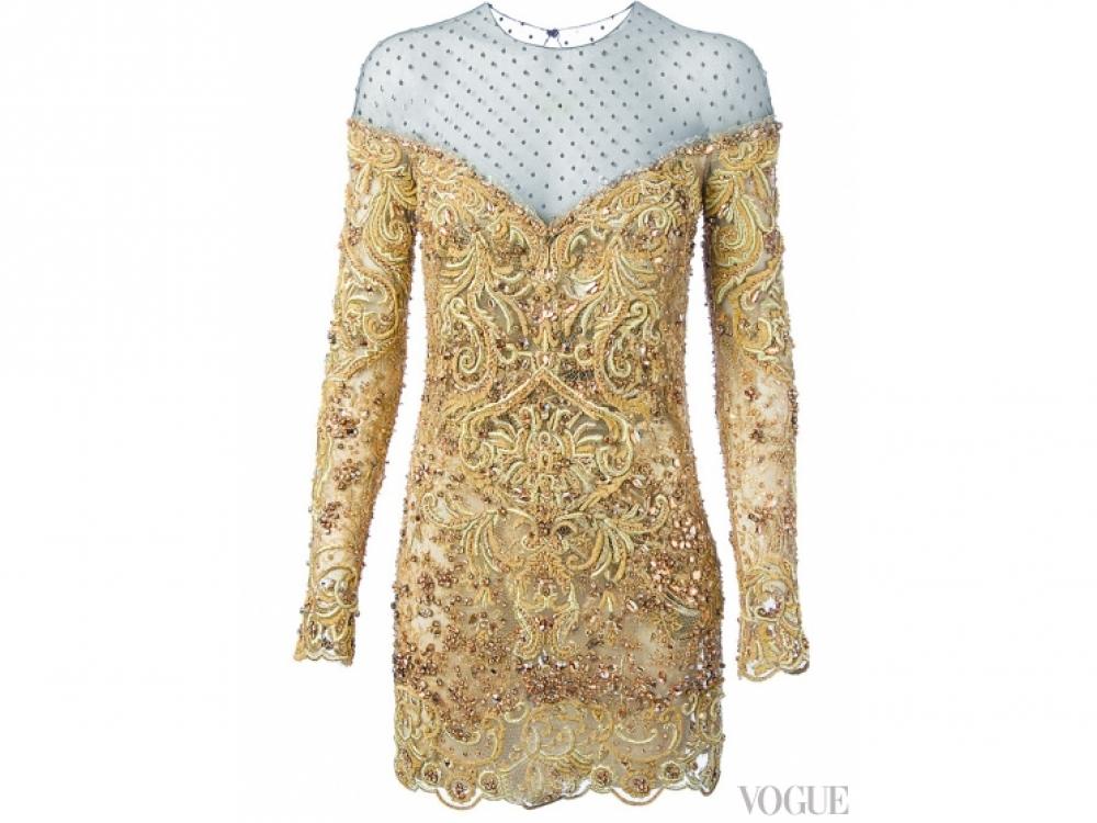 Платье из сетки, расшитое бисером и хрусталем, Emilio Pucci
