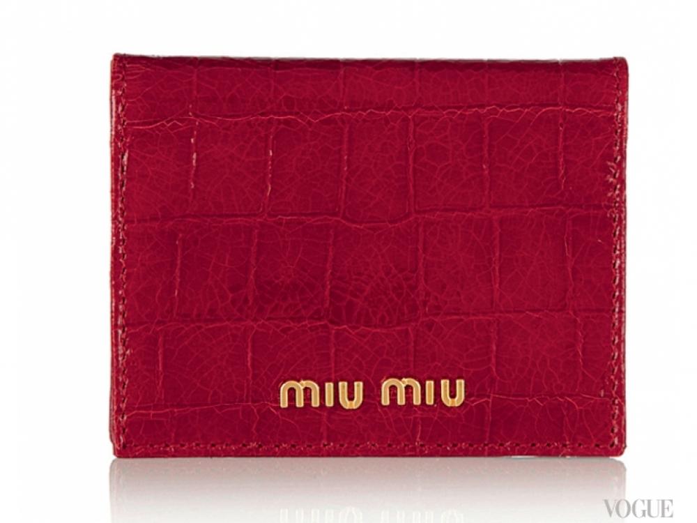 Чехол для карточек из лакированной телячьей кожи с крокодиловым эффектом, Miu Miu