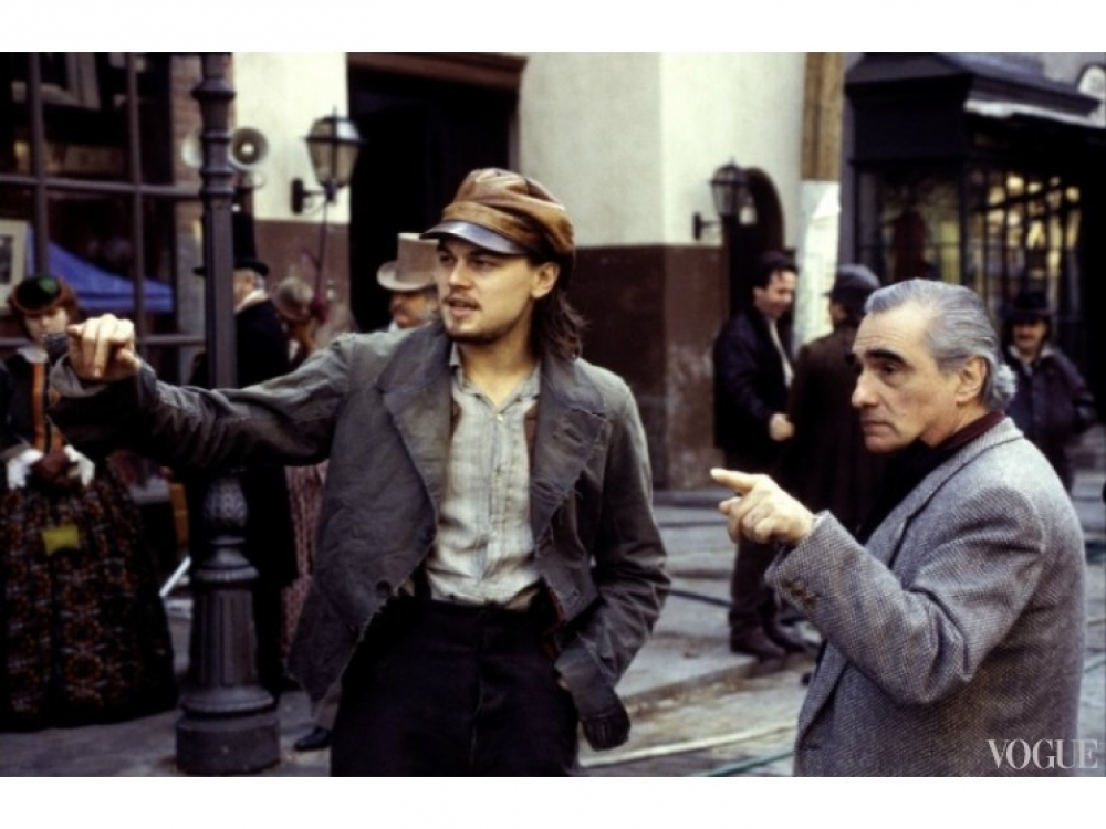 """Леонардо Ди Каприо и Мартин Скорсезе на съемках """"Банды Нью-Йорка"""""""