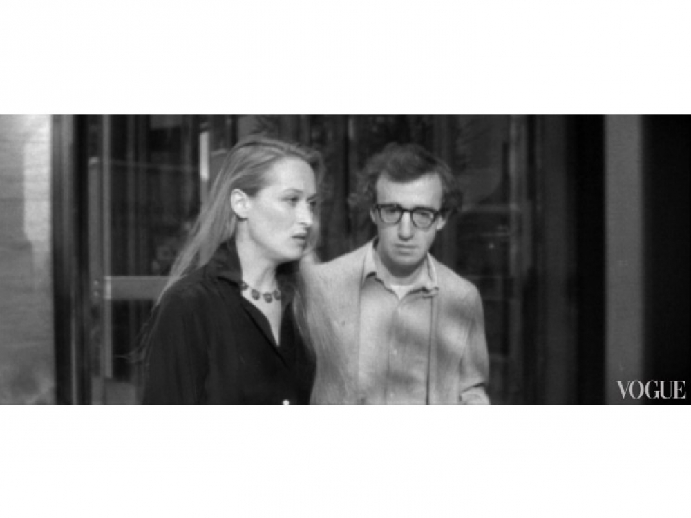 """Мэрил Стрип и Вуди Аллен во время работы над картиной """"Манхэттен"""" (1979 год)"""