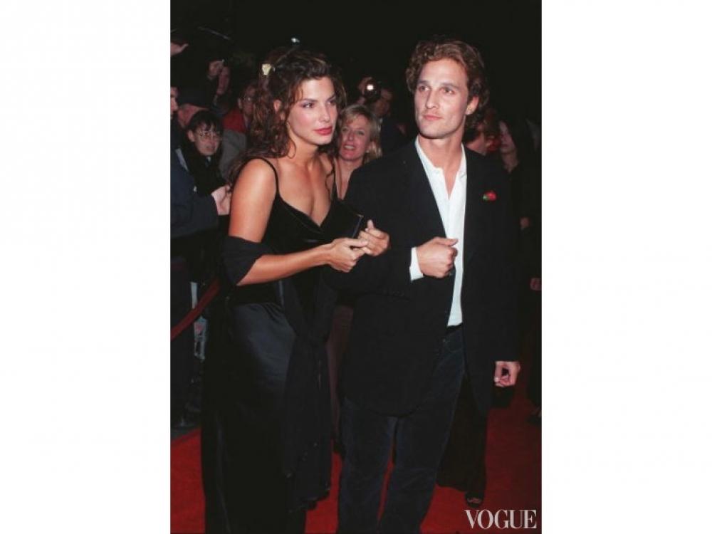"""Мэттью МакКонахи и Сандра Буллок на премьере фильма """"В любви и войне"""" в Лос-Анджелесе(1997 год)"""