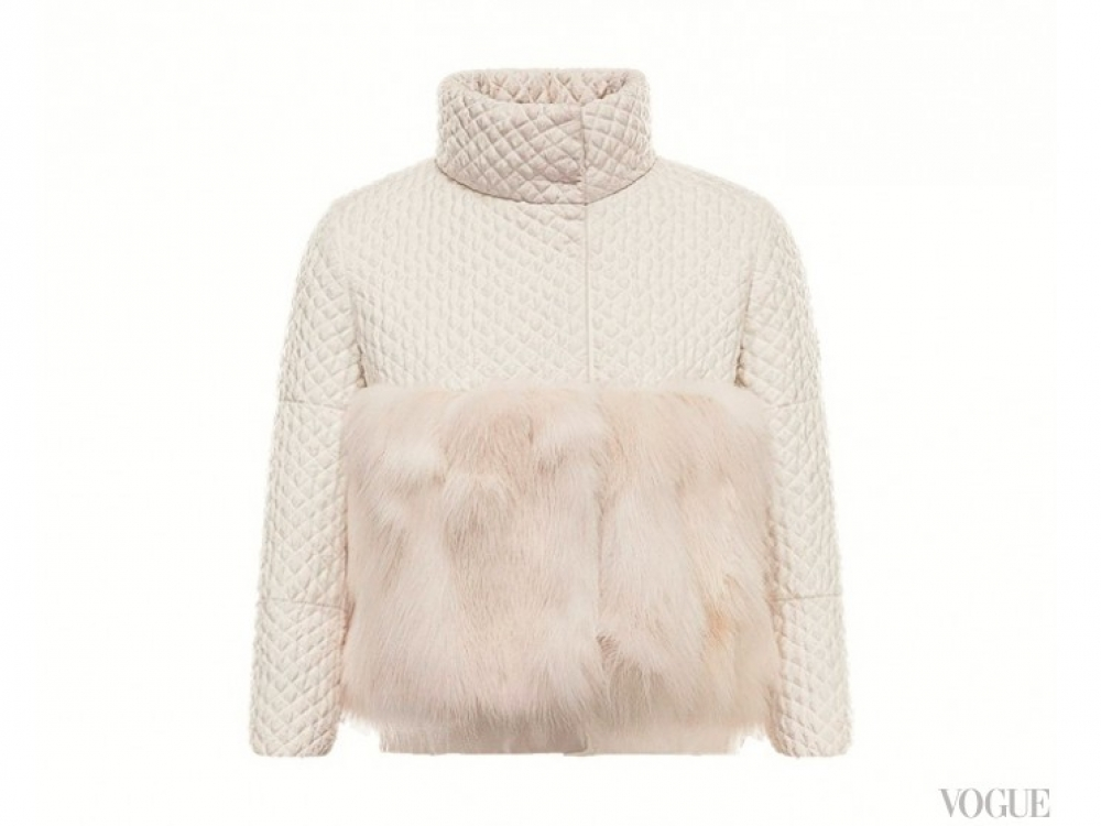 Куртка из полиэстера, ламе и жаккарда с меховой опушкой, Moncler Gamme Rouge