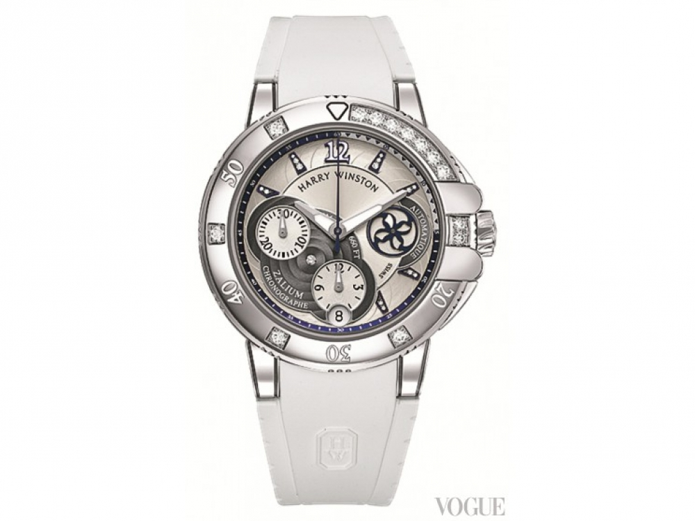 Часы Ocean Sport Ladies' Chronograph, родий, бриллианты, каучук, Harry Winston