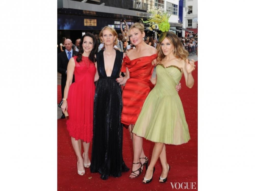 Сара Джессика Паркер, Ким Кэтролл, Синтия Никсон и Кристин Дэвис на премьере фильма в Лондоне (2008)