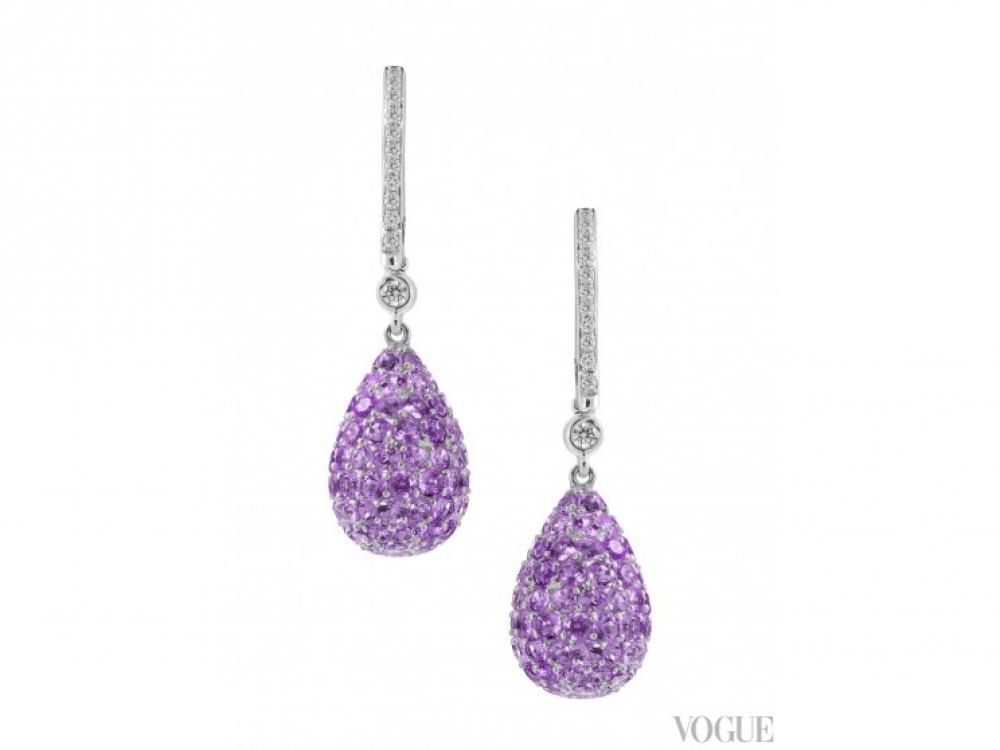 Серьги, бриллианты, аметисты, Damiani
