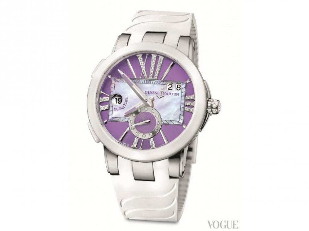 Часы Lady Purple, сталь, керамика, бриллианты, Ulysse Nardin
