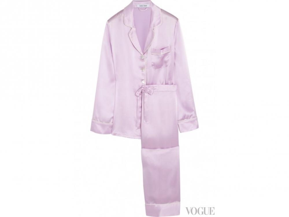 Пижамные брюки и жакет из атласного шелка, Olivia von Halle