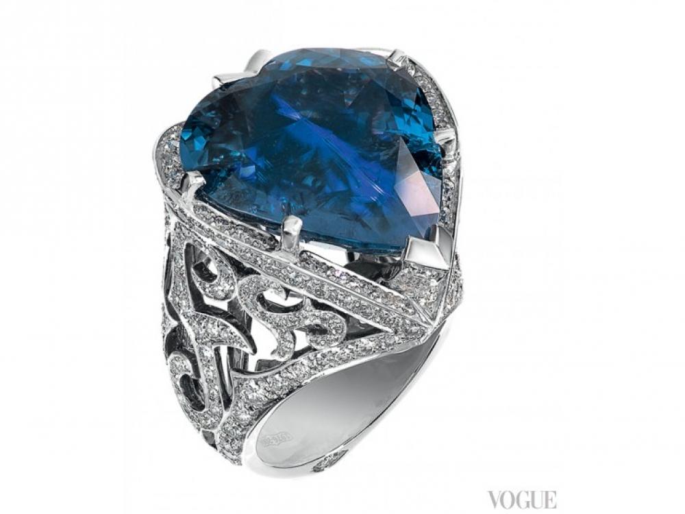 Кольцо, белое золото, бриллианты, танзанит, Stephen Webster
