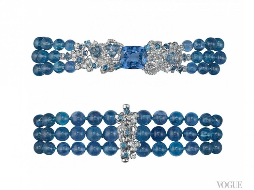 Браслеты Hortensia, платина, бусины из танзанита, сапфиры огранки «бриллиант», бриллианты, Chaumet High Jewellery