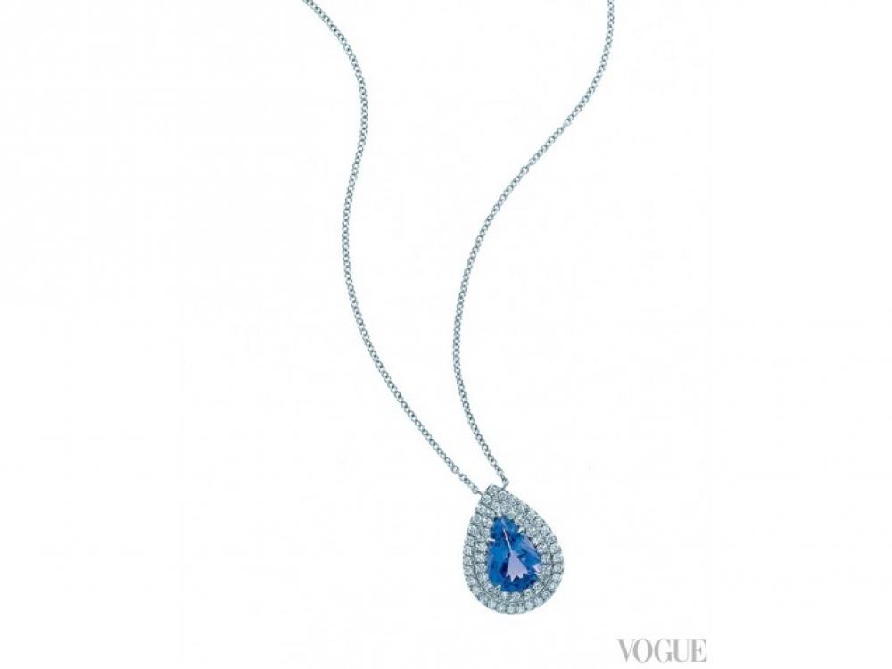 Подвеска, платина,  танзанит весом  в 1,25 карата, белые  бриллианты общим весом  в 0,25 карата, Tiffany?&?Co.