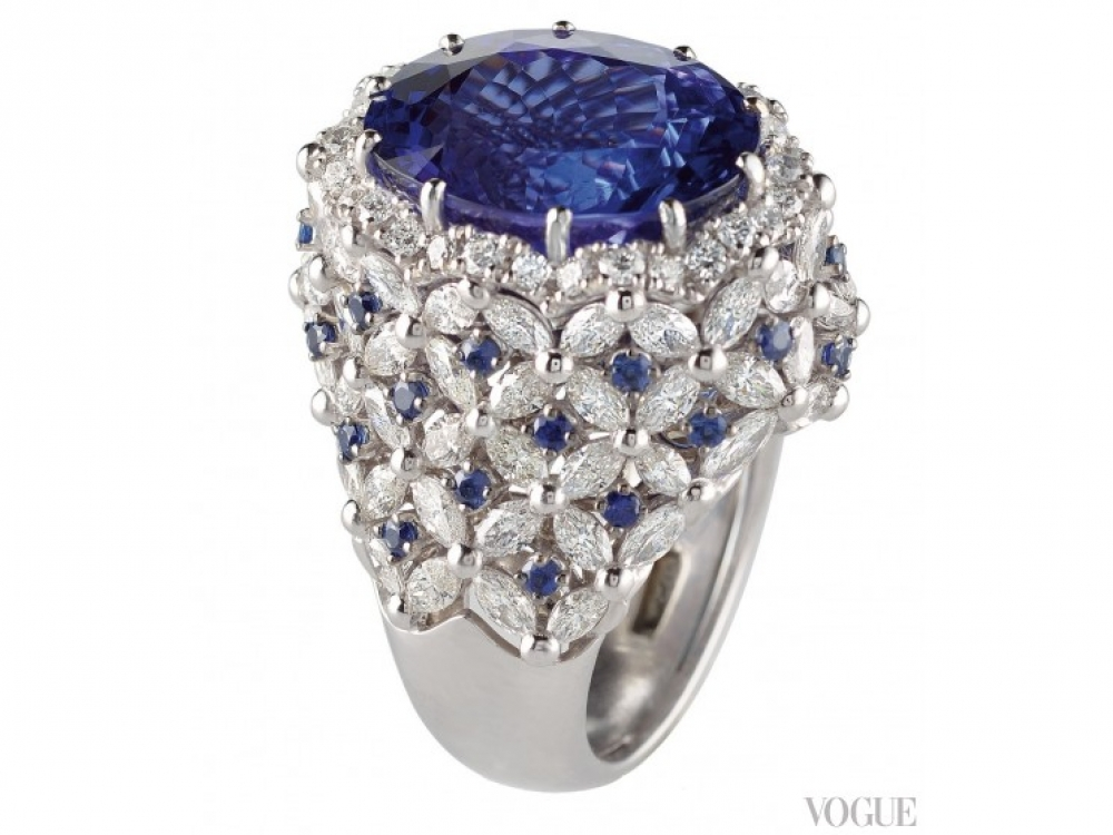 Кольцо Opera, белое золото, танзанит в 13,75 карата, бриллианты, сапфиры, Di.Go