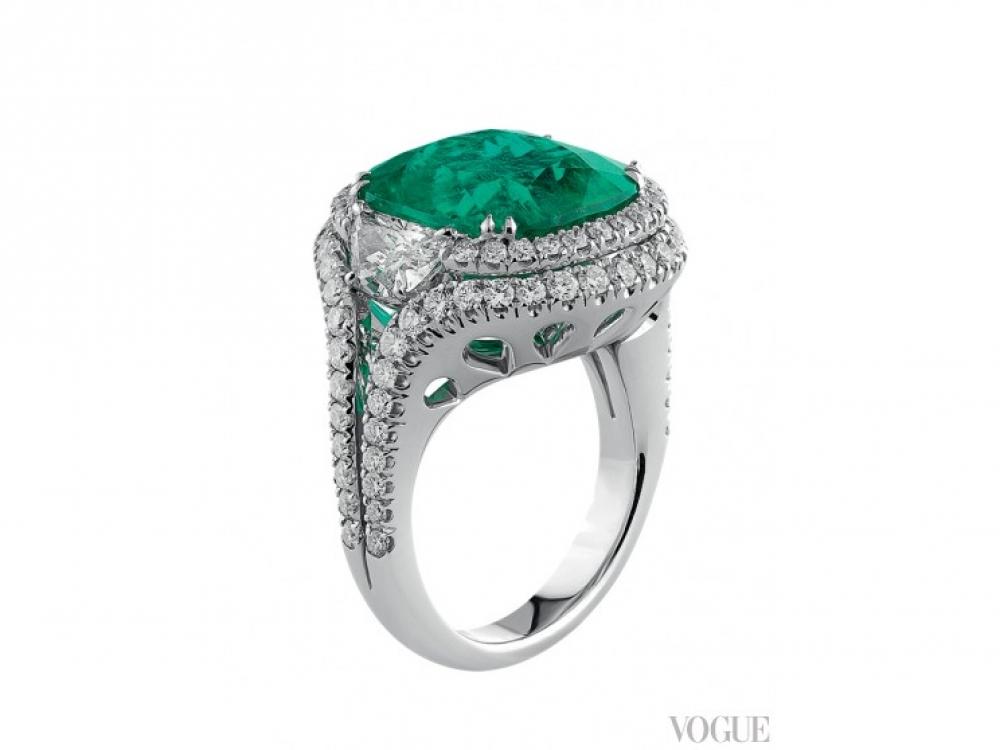 Кольцо, белое золото, бриллианты в 2,6 карата, изумруд в 11,11 карата, Crivelli