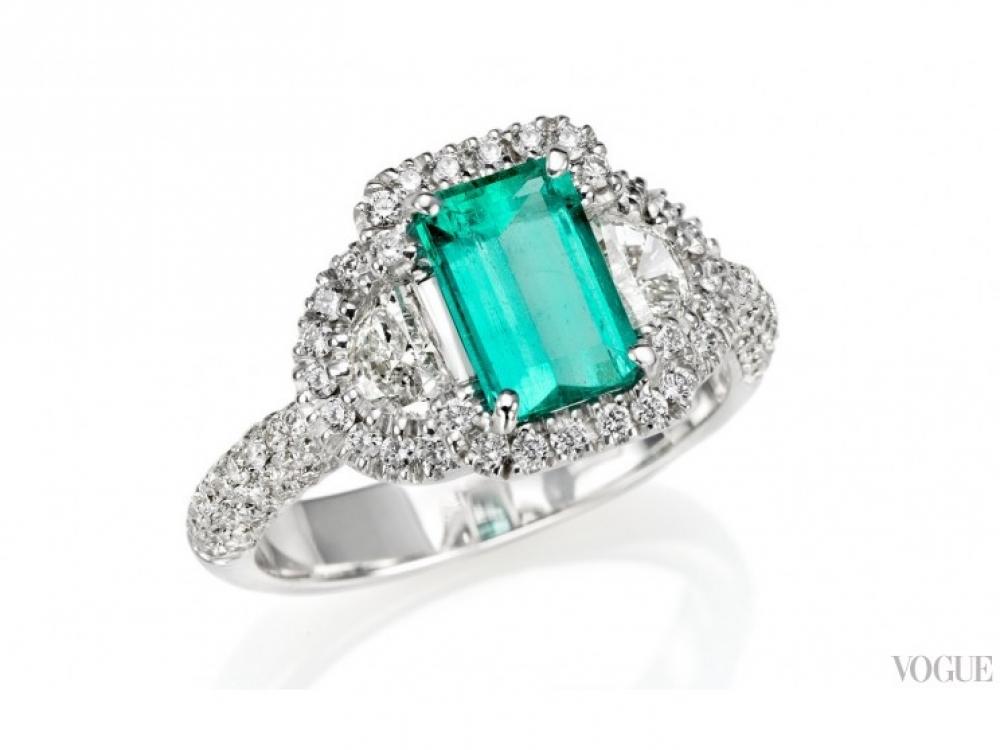 Кольцо Opera, белое золото, бриллианты в 1,46 карата, изумруд в 3,57 карата, Di.Go