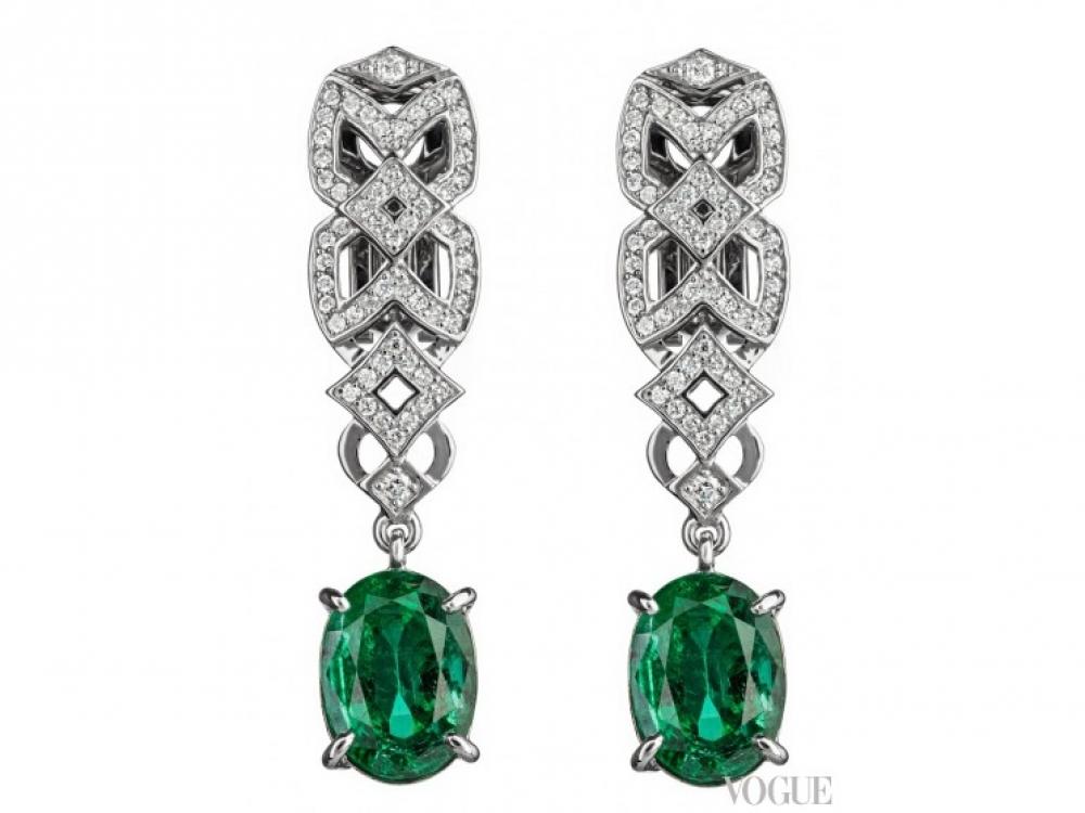 Серьги, белое золото, бриллианты и изумруды общим весом в 6 карат, Oberig Jewelry