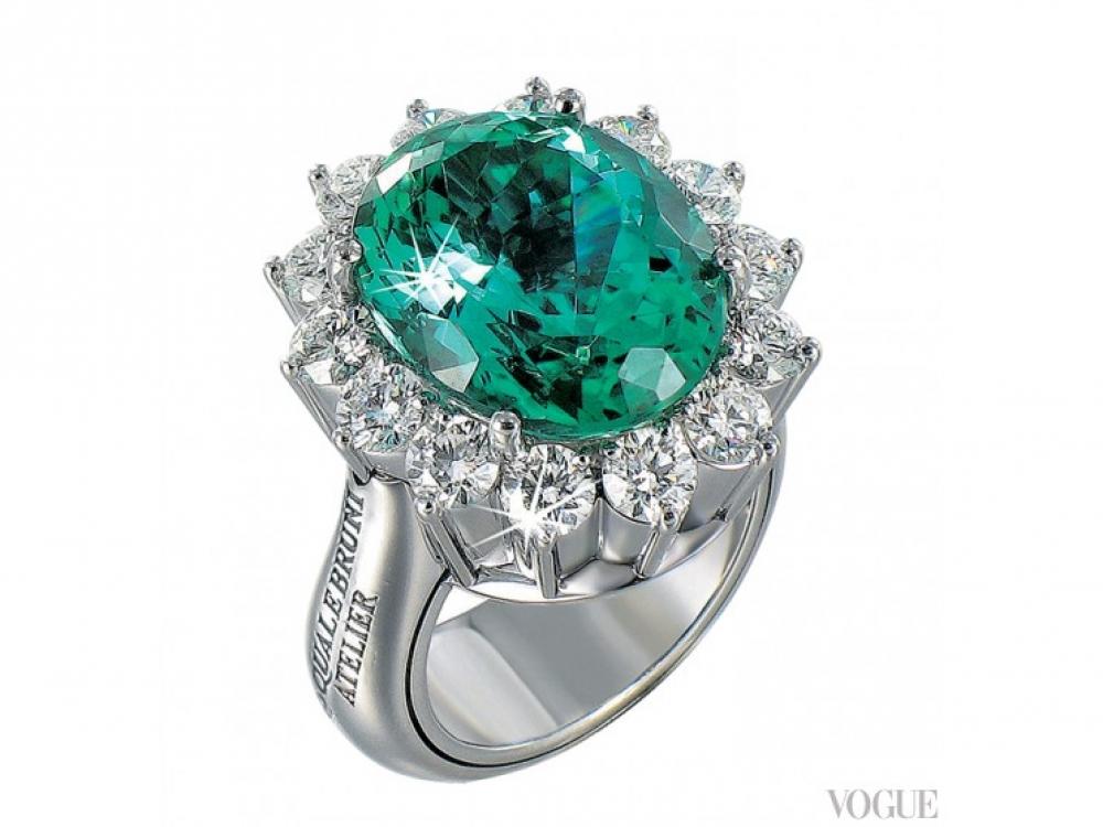 Кольцо Atelier, белое золото, бриллианты, турмалин, Pasquale Bruni