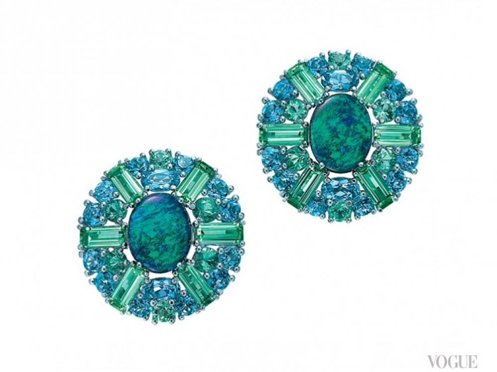 Серьги, платина, черные опалы, аквамарины и зеленые турмалины, Tiffany?&?Co.
