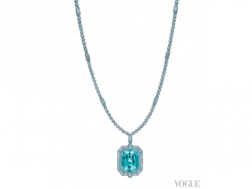Подвеска, платина, турмалин огранки «изумруд», бриллианты круглой и багетной огранки, Tiffany?&?Co.