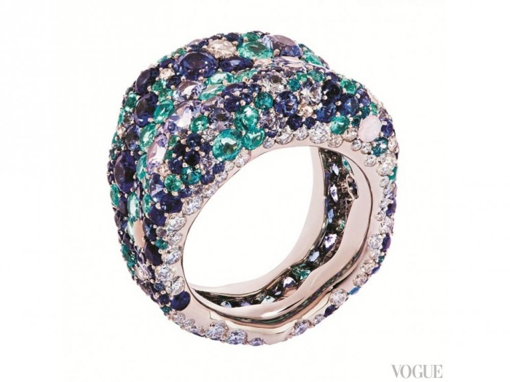 Кольцо Emotion, платина, белые бриллианты, голубые сапфиры, лунные камни, опалы, турмалины и топазы, Faberg?