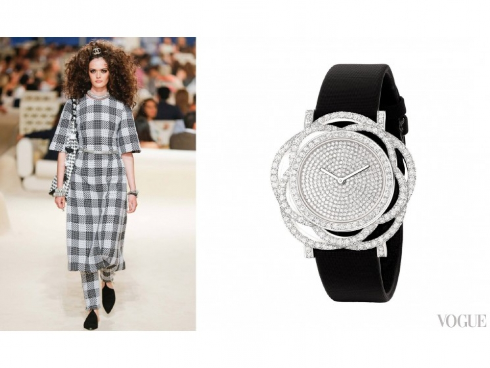 "Часы ""Camelia Brode"" Chanel Fine Jewelry, белое золото, бриллианты"