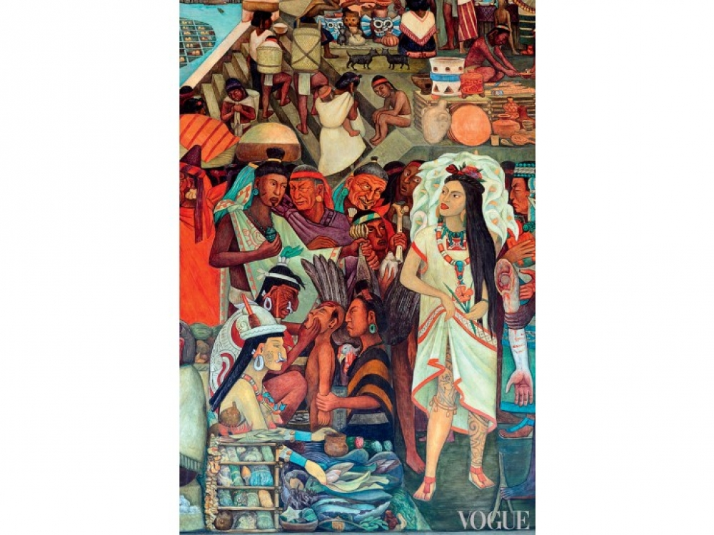 Девушка в платье Кармелита на картине Диего Риверы, 1929-1935