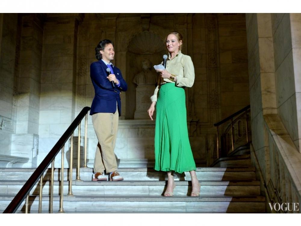 Дэвид Лорен и Ума Турман на показе детской коллекции Ralph Lauren осень-зима 2014/2015