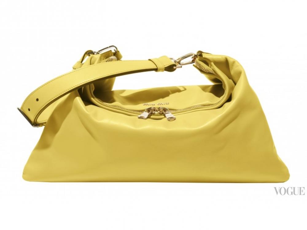 |желтая сумка Miu Miu Cloud