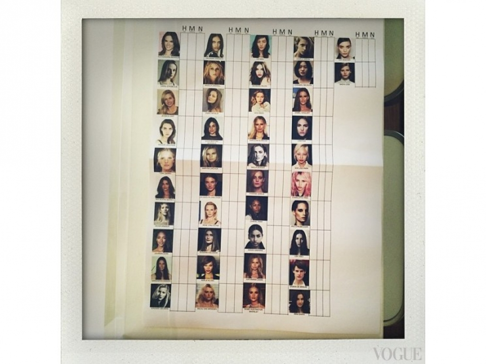 Лайнап моделей для показа Карин Ройтфельд в Instagram-аккаунте Карима Рахмана