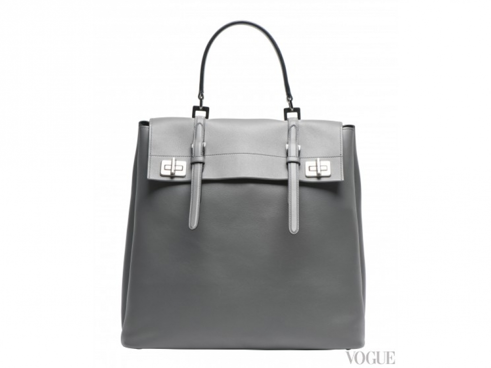 |серая большая сумка Prada осень-зима 2014/2015