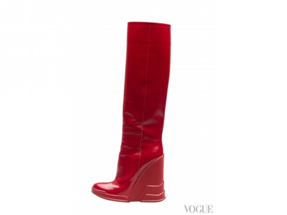 |красные сапоги  Prada осень-зима 2014/2015