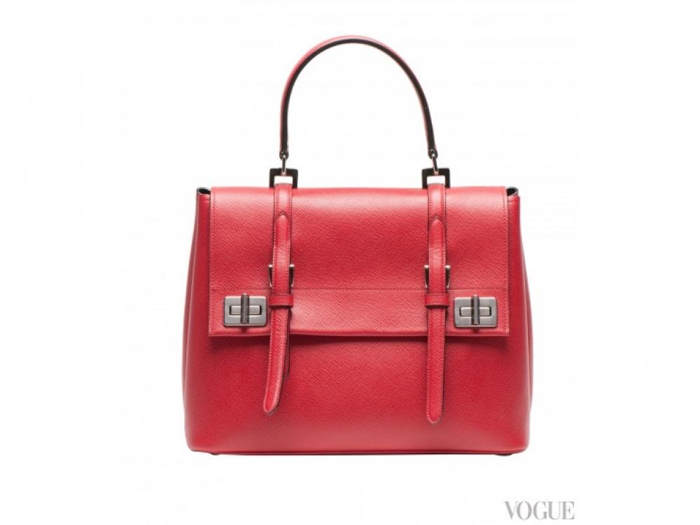 |красная большая сумка Prada осень-зима 2014/2015