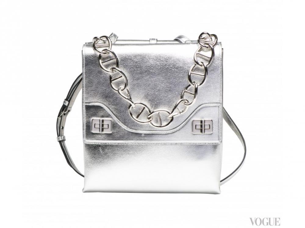 |серебряная сумка-почтальон  Prada осень-зима 2014/2015
