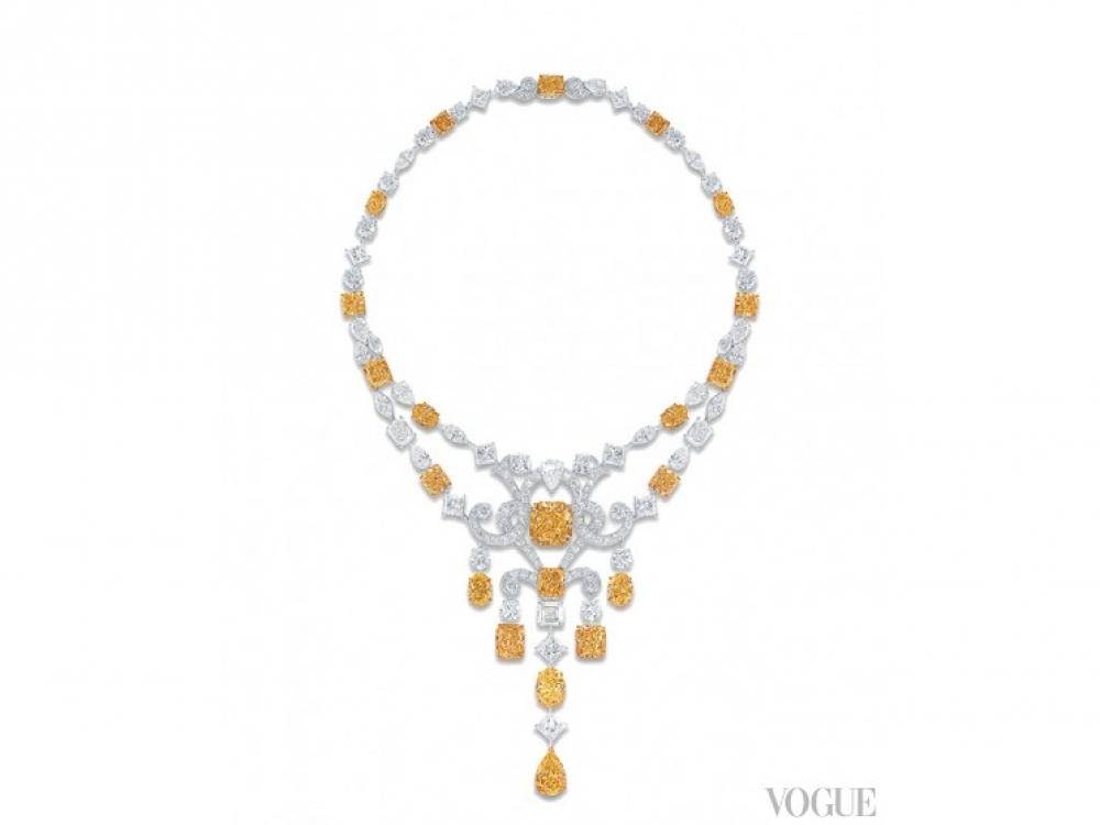 Ожерелье Scroll?Motif, белое золото, белые и желтые бриллианты 131,12 карат, Graff