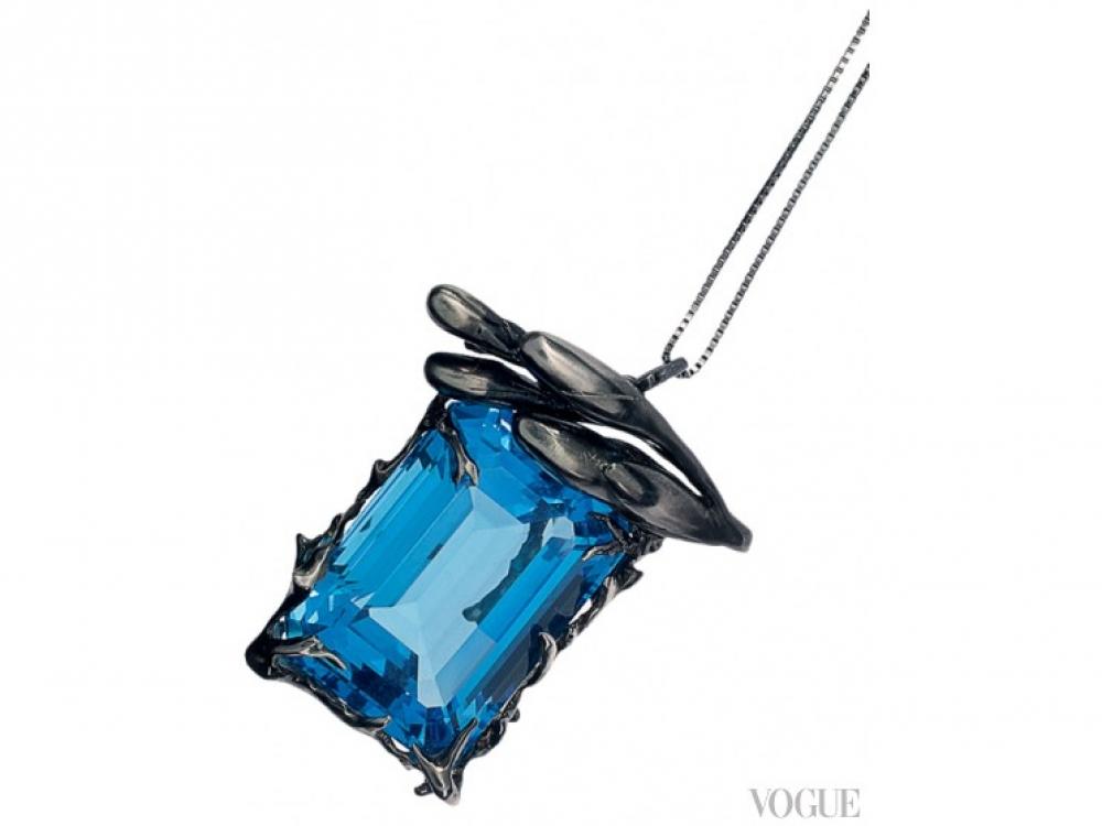 Кулон, черное золото, синий топаз, Velar