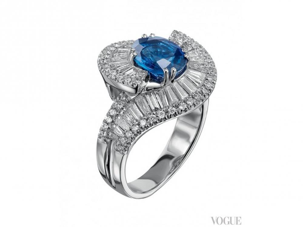 Кольцо Opera, белое золото, бриллианты, сапфир, Di.Go